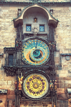 faded: Prague medieval Astronomical Clock, Czech Republic. Vintage look, faded colors