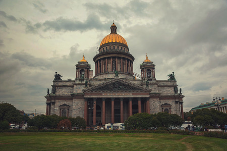 isaac: St Isaac Cathedral at twilight, Saint Petersburg, Russia Stock Photo