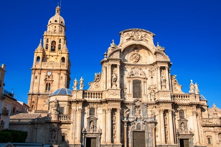 Main facade of the Cathedral Church of Saint Mary in Murcia, Spain. Landmark of the city Stock Photo