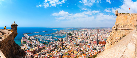 barbara: Alicante Santa Barbara castle with panoramic aerial view at the famous touristic city in Costa Blanca, Spain