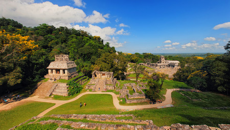 Mayan ruins in Palenque, Chiapas, Mexico. Palace and observatory. It is one of the best preserved sites, which contains interesting architecture and is popular tourist attraction