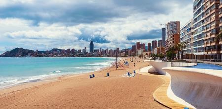 beaches of spain: Empty morning beach in Benidrom, Costa Blanca, Spain in spring