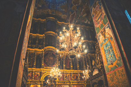 made russia: YAROSLAVL, RUSSIA - SEPTEMBER 5, 2015: Interiors of Church of Elijah the Prophet - beautiful chandelier and religious paintings made by Kostroma masters. It is a famous landmark in the city