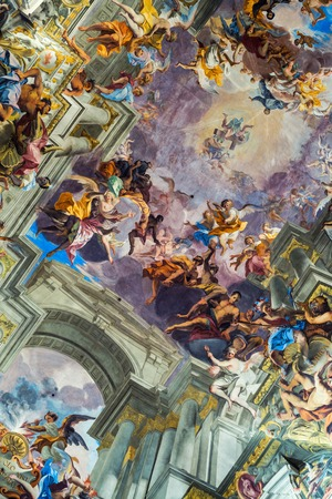 italian fresco: ROME, ITALY - JULY 11, 2015: Interiors of Church of St. Ignatius of Loyola at Campus Martius. Decorated ceiling by frescoes of Andrea Pozzo celebrating Saint Ignatius and the Society of Jesus