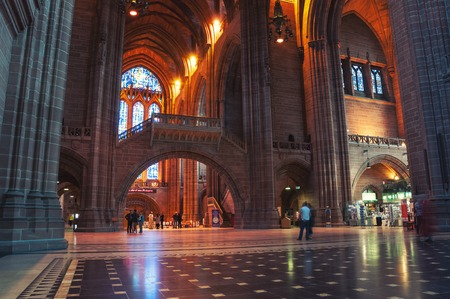 st jamess: LIVERPOOL, UK - SEPTEMBER 5, 2014: Interiors of the Church of England Anglican Cathedral of the Diocese of Liverpool ranking as the fifth-largest cathedral in the world. Located at St Jamess Mount