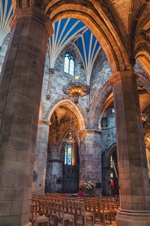 giles: EDINBURGH, SCOTLAND - SEPTEMBER 18, 2014: Interiors of St Giles Cathedral - the most important place of worship in the country. High Kirk of Edinburgh is dedicated to patron saint of the city