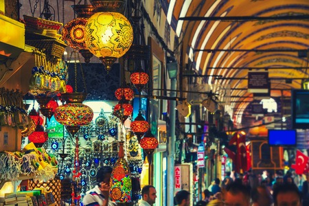 ISTANBUL, TURKEY - MAY 29, 2015: Typical lanterns at Grand Bazaar. It is one of the largest and oldest covered markets in the world, with 61 covered streets and over 3,000 shops