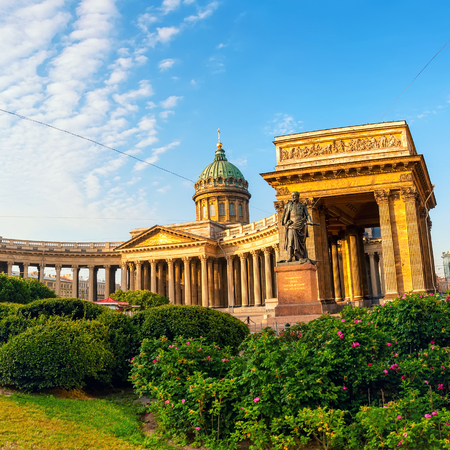 tourism in russia: Cathedral of Our Lady of Kazan, Russian Orthodox Church with Kutuzov statue in Saint Petersburg, Russia Stock Photo