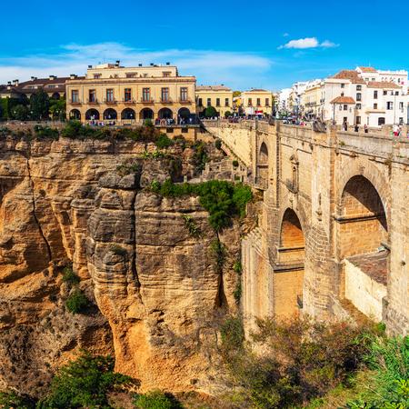 nuevo: The Puente Nuevo New Bridge over Guadalevin River in Ronda, Andalusia, Spain. Popular landmark in the evening Editorial