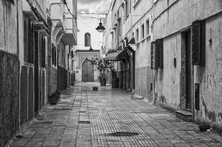 Empty streets of old town Rabat medina, Morocco. It is an administrative city but very popular among tourists with famous historical architecture. HDR technique Stock Photo