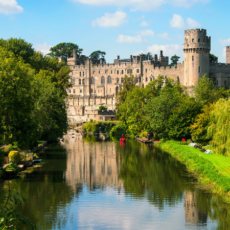 11th: Warwick castle from outside. It is a medieval castle built in 11th century and a major touristic attraction in UK nowadays. Sunny day