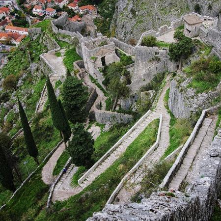 montenegro: Kotor fortress walls, Montenegro