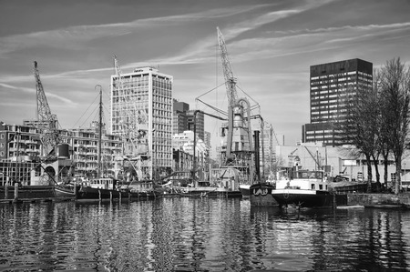 meuse: City port with in Rotterdam, Netherlands.The largest port in Europe located near the mouth of the New Meuse. Black and white