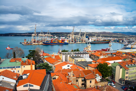 Aerial view of port of Koper, Slovenia. Cloudy sky over the historical buildings.