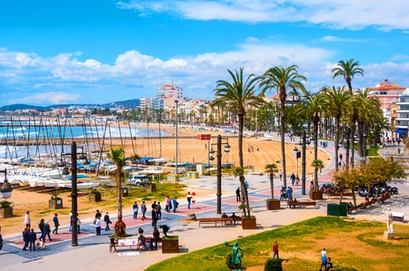 dorada: Aerial view of Sitges, Spain beach and promenade area of the popular touristic town in Costa Dorada. The coastal city in Catalonia is famous for its Film Festival and Carnival