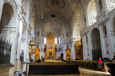MUNICH, GERMANY - FEBRUARY 22, 2016: Inside a St Michael is a Jesuit church - triumph of Catholicism as true Christianity during the Counter-Reformation