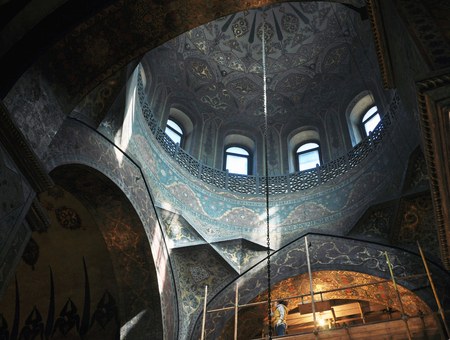apostolic: VAGHARSHAPAT, ARMENIA - MARCH 22, 2016: Inside a Etchmiadzin Apostolic Cathedral with conservation works taking place