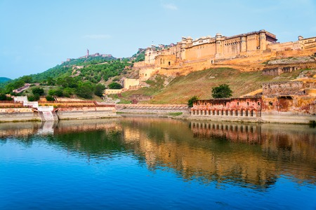 amber fort: Amber Fort in Jaipur, India. Popular landmark, reflection in the water Stock Photo