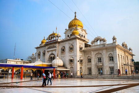 gurudwara: DELHI, INDIA - JULY 5, 2016: Gurudwara Bangla Sahib sikh temple, most popular landmark in Delhi the capital of India.