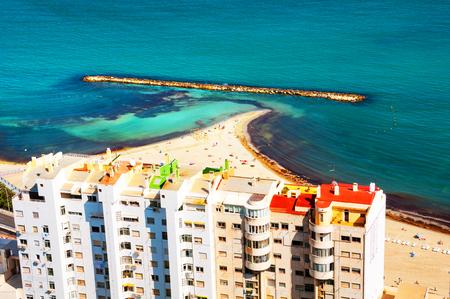 Costa Blanca, Spain. Beach at famous Costa Blanca touristic resort Stock Photo