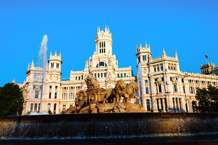 Madrid, Spain. Cybele Palace and fountain at the Plaza Cibeles