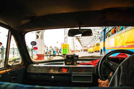 Kolkata, India. Riding the taxi in Kolkata, India city center Stock Photo - 80336979