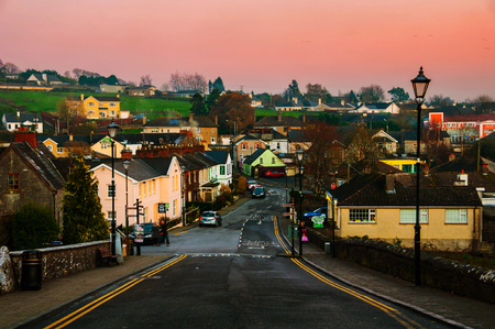 Cashel, Ireland. Aerial view of small town in the evening
