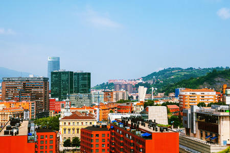 Aerial view of Bilbao, Spain city downtown Stock Photo