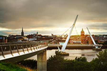 Peace bridge in Derry Londonderry in Northern Ireland with city center