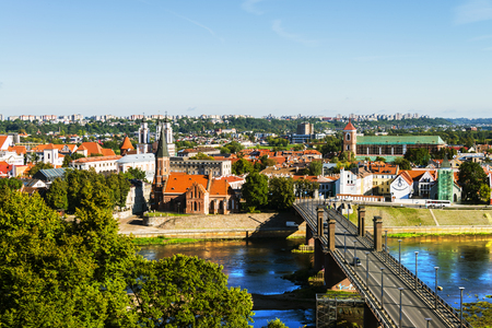Aerial view of famous city Kaunas, Lithuania during the sunny day Stock Photo