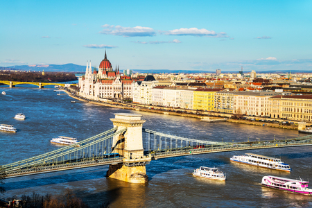 Aerial view of Budapest, Hungary with clouds Stock Photo