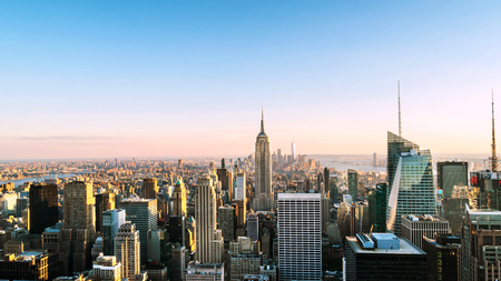 Aerial view on the city skyline in New York City, USA Stock Photo