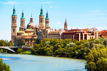 ebro: Aerial view of Saragossa, Spain with Basilica of Our Lady of the Pillar