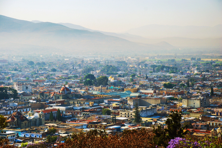 Aerial view of Puebla, Mexico in the morning Stock Photo