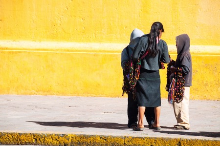 San Cristobal de las Casas, Mexico. Local children sell handmade crafts at the streets of San Cristobal de las Casas, Mexico.