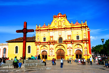 cristobal: Main square of San Cristobal de las Casas, Mexico with Cathedral Stock Photo