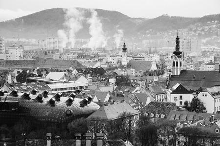 Aerial view of historical part of Graz, Austria