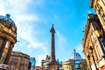 Newcastle upon Tyne, UK. Charles Grey Monument in the city center of Newcastle upon Tyne, UK during the day. Blue sky