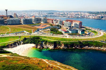 Vue aérienne de La Corogne, Galice, Espagne située sur la côte de l'océan Atlantique