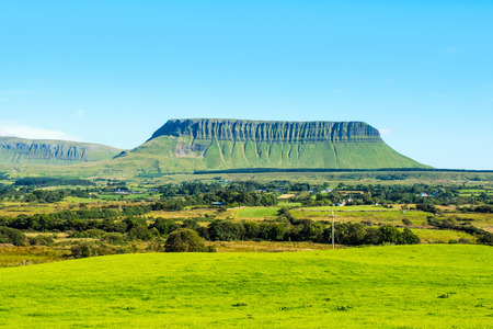 Panoramic view of Benbulbin mountains during the sunny day with landscape in Sligo, Ireland