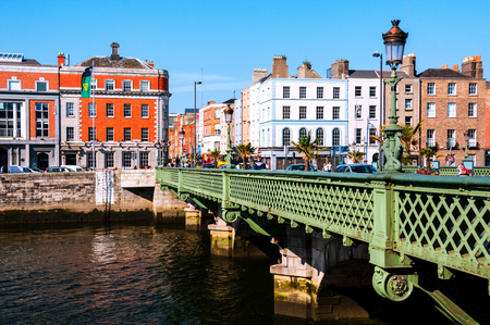 Grattan Bridge at day in Dublin, Ireland. Beautiful architecture