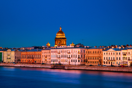 Moyka river in Saint Petersburg, Russia at the night, historical buildings Stok Fotoğraf