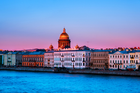 Moyka river in Saint Petersburg, Russia in the evening, historical buildings