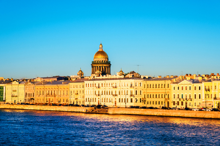 Moyka river in Saint Petersburg, Russia during a sunny day, historical buildings Stok Fotoğraf