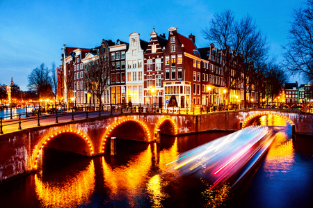 Night view of canals and bridges in Amsterdam, Netherlands Stok Fotoğraf