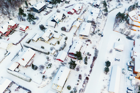 Molde, Norway. Aerial view of residential area in Molde, Norway during a day in winter. Beautiful area covered in snow