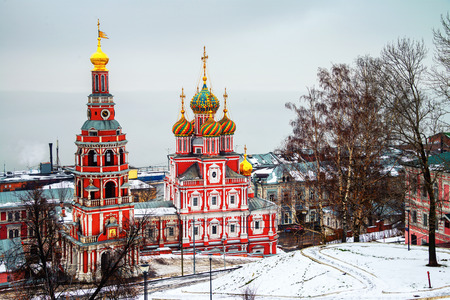 Rozhdestvenskaya Church with unique architectural style in Nizhny Novgorod, Russia in winter