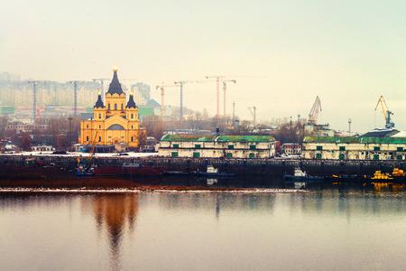 Cathedral of St. Alexander Nevskiy in Nizhny Novgorod, Russia covered with fog
