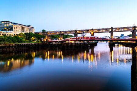 Newcastle, Great Britain. The High Level and Tyne bridge over the river in Newcastle, England, UK, at sunset on a summer evening with clear blue sky