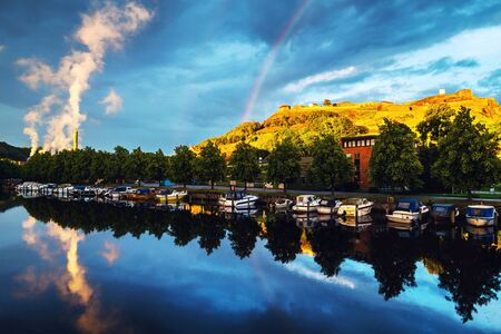 View of the boats and yachts with Fredriksted fortress in Halden, Norway Stock fotó